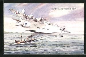 AK Wasserflugzeug Sunderland in der Luft, Schiff in Fahrt