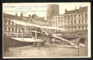 AK Dunkerque, La Place Jean-Bart, Aeroplane allemand descendu par nos poilus, Menschenmenge um ein Flugzeug