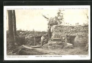 AK View in frist-line trenches, Britischer Soldat im Schützengraben
