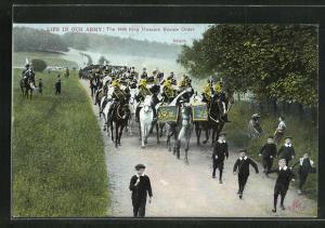 AK Soldaten in Uniformen zu Pferde, The 14th King Hussars Review Order, Knight
