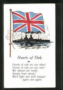 AK Hearts of Oak, Union-Jack über einem Kriegsschiff
