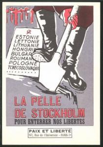Künstler-AK La Pelle de Stockholm pour Enterrer nos Libertés, Anti-Sowjet