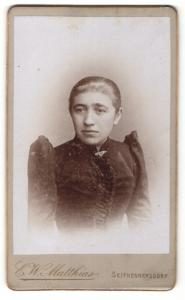 Fotografie E. W. Matthias, Seifhennersdorf, dünne Frau im Kleid mit Puffärmeln