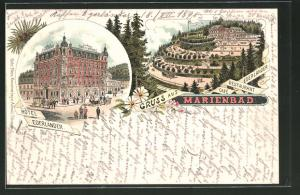 Lithographie Marienbad, Hotel Egerländer, Cafe-Restaurant Egerländer