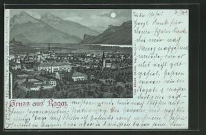 Mondschein-Lithographie Ragaz, Panoramablick auf den Ort und ins Tal