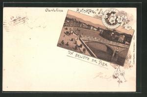 Lithographie Pisa, Teilansicht mit Brücke über den Arno