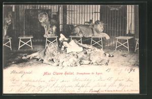 AK Miss Claire Heliot bei ihrer Löwen-Dressur