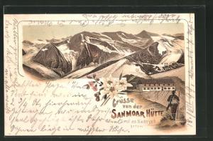 Lithographie Sanmoar Berghütte am Niederjoch, Gebirgs-Panorama