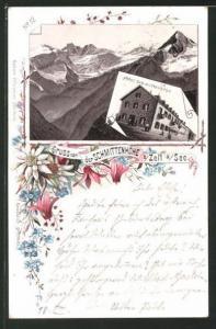 Vorläufer-Lithographie Zell am See, 1895, Berghütte Hotel Schmittenhöhe, Gebirgspanorama