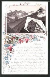 Vorläufer-Lithographie Zell am See, 1895, Berghütte Hotel Schmittenhöhe, Blick auf das Gebirge