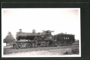 Fotografie Eisenbahn Grossbritannien, Dampflok Nr. 548, Lokomotive mit Tender