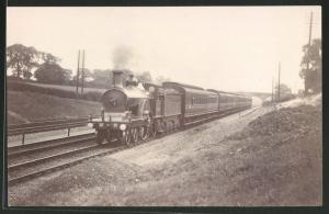 Fotografie Eisenbahn Grossbritannien MR, Dampflok, Personenzug mit Tender-Lokomotive