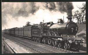 Fotografie Eisenbahn Grossbritannien Great Central, Dampflok Nr. 358, Personenzug mit Tender-Lokomotive