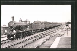 Fotografie Eisenbahn Grossbritannien LSWR, Personenzug mit Dampflok Nr. 284, Tender-Lokomotive