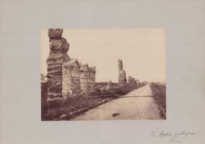 Fotografie Fotograf unbekannt, Ansicht Rom, Via Appia antiqua, Ruinen neben der antiken Strasse, Grossformat 42 x 31cm