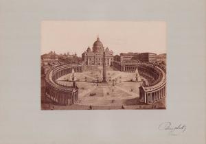 Fotografie Fotograf unbekannt, Ansicht Rom, Petersplatz - Panorama, Grossformat 42 x 31cm