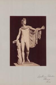 Fotografie Fotograf unbekannt, Ansicht Vatikanstadt, Skulptur Apollo von Belvedere, Grossformat 31 x 42cm