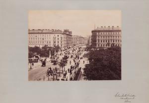 Fotografie Fotograf unbekannt, Ansicht Wien, Elisabethbrücke, Pferdebahn in der Kärntnerstr., Grossformat 42 x 31cm