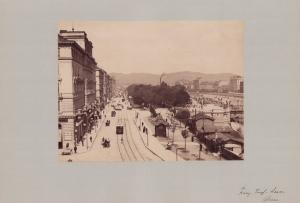 Fotografie Fotograf unbekannt, Ansicht Wien, Strassenbahn am Franz-Josef-Quai, Grossformat 42 x 31cm