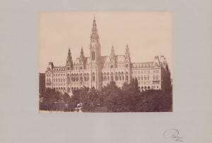 Fotografie Fotograf unbekannt, Ansicht Wien, Rathaus - Gesamtansicht, Grossformat 42 x 31cm