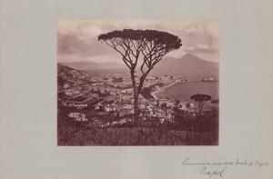 Fotografie Fotograf unbekannt, Ansicht Neapel, Panorama mit Vesuv, Grossformat 42 x 31cm