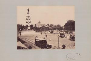 Fotografie Fotograf unbekannt, Ansicht Wien, Praterstern mit Rotunde und Pferdebahn, Grossformat 42 x 31cm