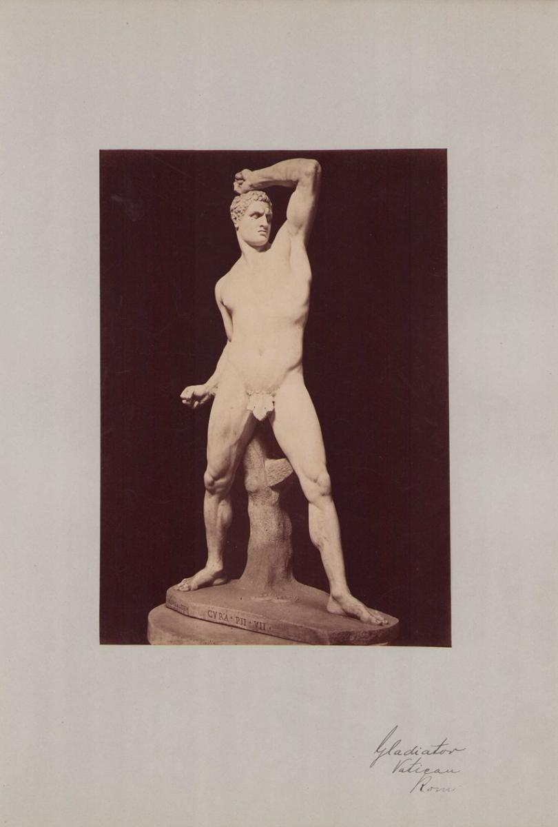 Fotografie Fotograf unbekannt, Ansicht Vatikanstadt, Skulptur Gladiator im Vatikanmuseum, Grossformat 31 x 42cm 0
