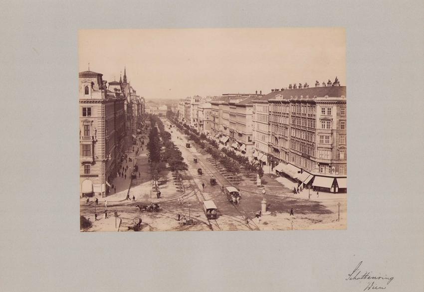Fotografie Fotograf unbekannt, Ansicht Wien, Schottenring, Pferdebahn und Ladengeschäfte, Grossformat 42 x 31cm 0