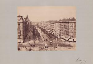 Fotografie Fotograf unbekannt, Ansicht Wien, Schottenring, Pferdebahn und Ladengeschäfte, Grossformat 42 x 31cm
