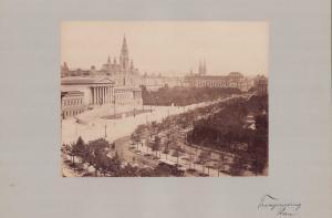 Fotografie Fotograf unbekannt, Ansicht Wien, Palament am Franzensring, Grossformat 42 x 31cm