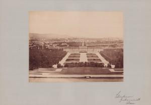 Fotografie Fotograf unbekannt, Ansicht Wien, Schloss Schönbrunn Gartenansicht, Grossformat 42 x 31cm