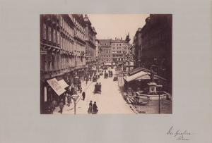 Fotografie Fotograf unbekannt, Ansicht Wien, Der Graben, Cafe & Ladengeschäfte, Zahnarzt J. Pfab, Grossformat 42 x 31cm