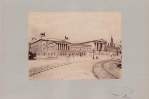 Fotografie Fotograf unbekannt, Ansicht Wien, Parlament - Gesamtansicht, Grossformat 42 x 31cm