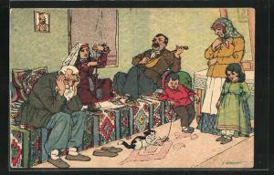 Künstler-AK sign. Oskar Schmerling: Tiflis, Familie in georgischer Tracht in ihrer Wohnung
