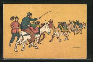 Künstler-AK sign. Oskar Schmerling: Tiflis, Zwei Männer mit Eseln in georgischer Tracht