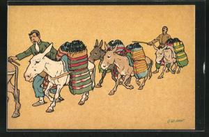 Künstler-AK sign. Oskar Schmerling: Tiflis, Zwei Männer mit Eseln in georgischer Tracht beim Transport