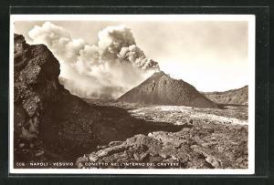 AK Napoli, Vesuvio - Il Conetto Nell`Interno del Cratere