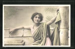 AK Junge Frau blickt träumerisch in die Ferne, Vision, Allegorie