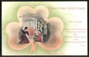 AK Irland, Gedicht Girls of Ireland, Mädchen wärmen sich am Kaminfeuer, Christmas Greetings