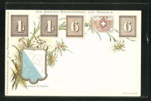 AK Zürich, Die ersten Briefmarken der Schweiz, Wappen Kanton Zürich, Edelweiss