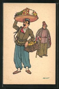 Künstler-AK sign. Oskar Schmerling, Tiflis: georgischer Obsthändler