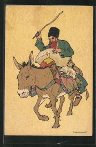 Künstler-AK sign. Oskar Schmerling, Tiflis: Georgier mit Esel und Lamm