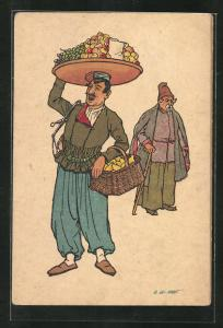 Künstler-AK sign. Oskar Schmerling, Tiflis: Obstverkäufer in Georgien