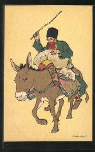 Künstler-AK sign. Oskar Schmerling, Tiflis: Bauer auf Esel mit Lamm, Georgien