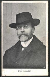 AK T. G. Masaryk, Portrait des Präsidenten mit Hut