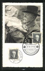 AK T. G. Masaryk, Portrait mit Kind