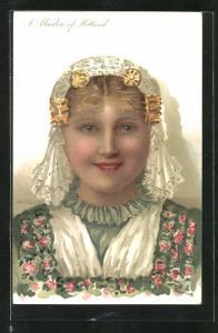 AK Holland, A Maiden, Frau in Tracht im Jugendstil