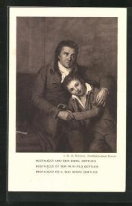 Künstler-AK Ganzsache, Pestalozzi und sein Enkel Gottlieb, Schweizer Bundesfeier 1914
