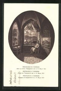 Künstler-AK Pestalozzi in Yverdon, Schweizer Bundesfeier 1914, Ganzsache