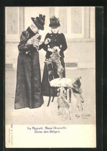 AK Sa. majeste Marie Henriette, Reine des Belges mit Hunden